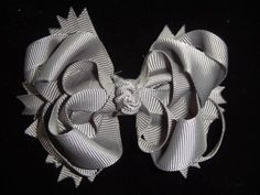 Boutique hair bow dark grey, layered hair clip, ribbon sculpture full | bowsandbling2 - Children's on ArtFire