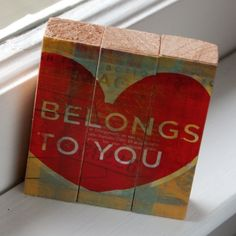 Valentine Sayings - Belongs to You - Mini Triptych Blocks - Mounted Love Art Print
