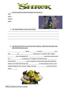 shrek worksheets fairy tales fractured tales fables pinterest shrek worksheets and. Black Bedroom Furniture Sets. Home Design Ideas