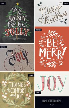 A roundup of wonderful, hand lettered and calligraphy holiday cards by Lily & Val, Ink Meets Paper, 1Canoe2, August & Oak, and more.