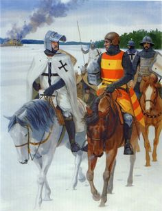 The Teutonic Knights, mid 14th century High Middle Ages, Medieval Armor, Knights Templar, Aviation Art, Sports Art, Historical Pictures, Military History, Art History, Original Paintings