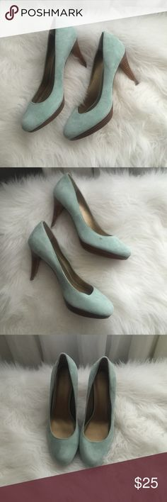 Joan and David luxe suede teal heals Turquoise/teal soft suede barely worn with one small spot ( in picture). Super comfortable. Great for work. Size 8.5. Joan and David luxe circa Joan & David Shoes Heels