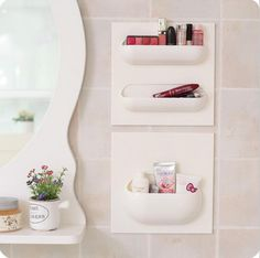 1 Pcs 22*22cm Bathroom Accessories,Wall Stick Type Bathroom Cup Toothbrush Set Shelf Rack for Shampoo Bath foam.