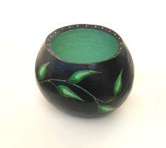 Leaf Vine Gourd Bowl Painted Gourd Green Black by midnightcoiler, $70.00