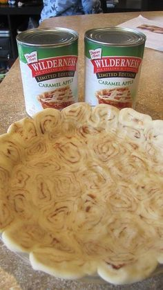 caramel apple pie with cinnamon roll crust . mmm didnt know they made caramel apple pie filling Just Desserts, Delicious Desserts, Dessert Recipes, Yummy Food, Baking Desserts, Health Desserts, Cinnamon Roll Crust, Cinnamon Roll Apple Pie, Apple Pies