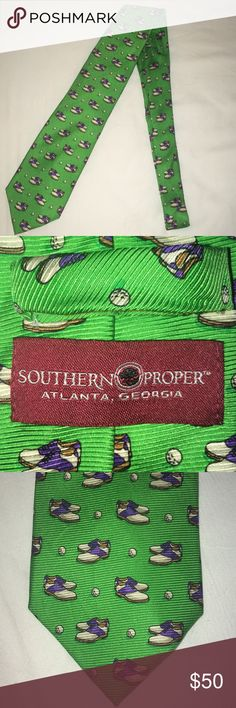 Southern Proper Golf Tie! 🏌️♂️ Adorable Southern Proper Tie with golf shoes & golf balls on them!   Worn once & in perfect condition!   💚 Southern Proper Accessories Ties