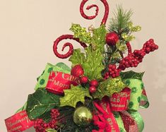 CHRISTMAS WHIMSY - Whimsical Chic Christmas Holiday Lantern Swag Tabletop Arrangement
