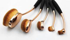 Rose Golden 10PCS/set Oval Tooth Design Makeup Brush Set For Applying Cosmetic