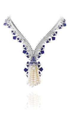 Van Cleef and Arpels - Lapis-lazuli & white mother-of-pearl Zip necklace