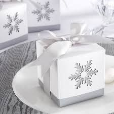 """These elegant """"Winter Dreams"""" laser-cut snowflake favor boxes are a lovely way for the winter bride to package wedding favors for her guests. The silver grey bottom box shows through the white slip-on top to showcase the laser cut snowflake. Winter Wedding Favors, Wedding Favor Boxes, Favour Boxes, Gift Boxes, Favor Bags, Winter Weddings, Snow Wedding, Magical Wedding, Snowflake Wedding"""