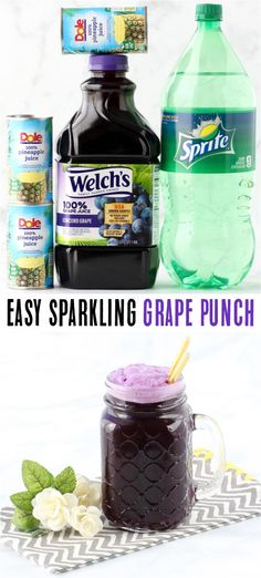 Sparkling Grape Punch Recipe Ingredients} - Never Ending Journeys - Grape Recipes Grape Punch Recipes, Hawaiian Punch Recipes, Fall Punch Recipes, Party Punch Recipes, Alcoholic Punch Recipes, Drinks Alcohol Recipes, Yummy Drinks, Alcoholic Beverages, Drink Recipes