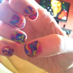 Water marble nailsss.<3