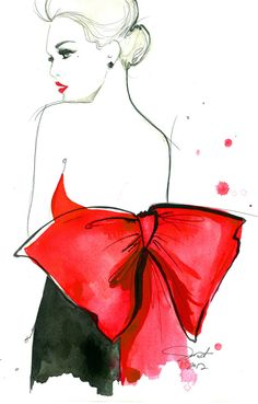 The Red Bow, print from original watercolor and pen fashion illustration by Jessica Durrant by JessicaIllustration on Etsy