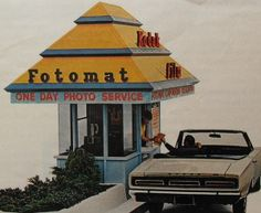 Fotomat Booths in shopping parking lots...And this was the quickest you could get them back then...ONE DAY!! Not an hour or less!!