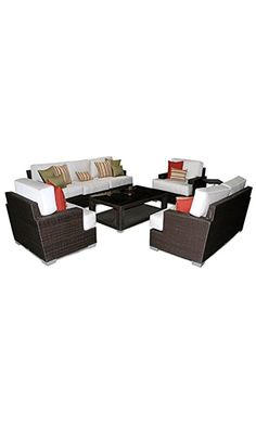 Patio Heaven SB-30-SET-5413 Signature Deep Seating Group with Cushions in Canvas Fabric, Spa Best Price