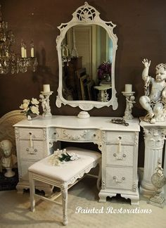 Beautiful white vanity from Painted Restorations