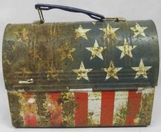 Vintage Patriotic Stars and Stripes Lunch Pail--could do something like this with Uncle Bob's lunch box like this.  His is in good shape.