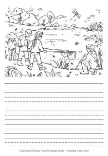 Write some summer stories with our summer story paper printables, complete with lovely colouring pictures. Creative Writing Worksheets, Kids Math Worksheets, Picture Comprehension, Reading Comprehension Passages, Diary Writing, Writing Prompts, Fairy Coloring, Colouring, Summer Coloring Pages