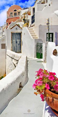 Picturesque streets of Santorini, Cyclades, Greece