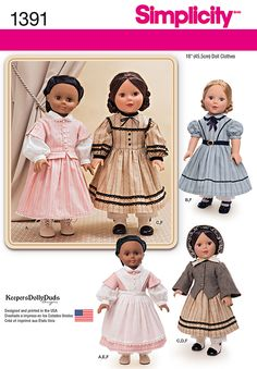 """Simplicity 1391 Civil War Doll Costume for 18"""""""" Doll sewing pattern"""