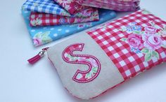 Design your own, Personalised Applique Initial Clutch, embroidered zipper pouch by HeirloomHandmade on Etsy
