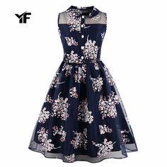 YF Women Dress Plus Size Summer Clothing 2018 Floral Pin up Retro Vintage 60s 50s Rockabilly Dress – Women Shopping