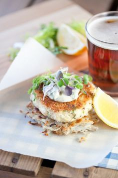 herbed ling cod cakes with crisp potato rosti and caper remoulade from Sea Salt: Recipes from the West Coast Galley by Alison Malone Eathorne, Hilary Malone and Lorna Malone (photo by Christina Symons) lingcod recipes fish; Fish Recipes, Seafood Recipes, Vegetarian Recipes, Dinner Recipes, Lingcod Recipe, Ling Cod, Cod Cakes, Fish And Seafood, Sea Salt