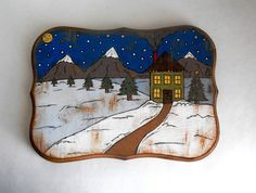 Original Painting on Wooden Plaque - Christmas Decor - Winter Decor - Christmas Art - Folk Art by LindyAndLou on Etsy