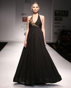 Black Halter Dress with Zardozi Work - Dresses - Apparel