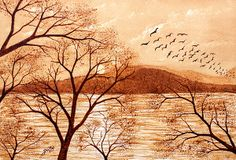 Late Autumn Sunset - coffee painting, by Georgeta Blanaru #coffee painting, #coffee art