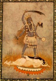 Kali, annihilation aspect of Sakti, standing on Rati and Kama