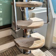 Custom flybridge staircase fabricated to replace ladder on a Riviera Designed in-house these stairs feature a stainless steel handrail for safety, teak treads Stainless Steel Fabrication, Stainless Steel Handrail, Deck Stairs, Roof Deck, Stair Ladder, Stainless Steel Plate, Boat Accessories, Boating, Breeze