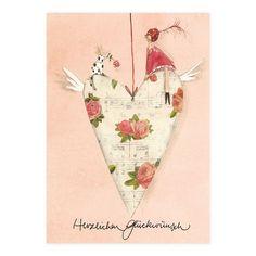 Postkarte mit Herzanhänger #Grätz #SilkeLeffler Birthday Greetings, Happy Birthday, I Love Heart, All Poster, Posters, Whimsical Art, Something Beautiful, Be My Valentine, Illustrations