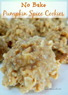 These simple no bake pumpkin spice cookies taste like fall. Simple to make and so good you wont be able to eat just one. They only take minutes to make! #nobakecookies #nobake #pumpkinspice #pumpkin #oatmeal #cookie #pumpkinspicecookie #dessert #snack #numstheword #recipe