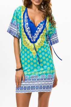 $12.12 Printed Beach Bodycon Dress - Green