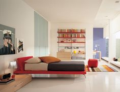apartment-astonishing-kids-red-single-bed-with-creative-bookshelf-and-minimalist-study-table-also-colorful-rug-27-attractive-small-studio-ap...