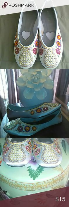 """Beautiful Handcrafted Flats /size 10 These are a fabulous """"reposh""""!!! I bought them with such excitement of wearing them and to my dismay they were too big, they are definitely true to their size 10. Lots of times flats run small so I was assuming and I was sadly wrong. They're absolutely beautiful. The fabric if the shoe itself looks like a greyish silk... Crafted with beadwork, sequins, and threadwork designs  in patterns reflecting India. Max Collection Shoes Flats & Loafers"""