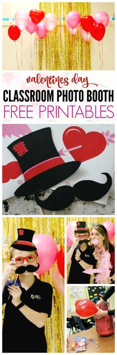 Valentines Day Photo Booth for the Classroom! PLUS! Free Printable Props for a DIY Craft Tutorial!