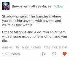 Malec Magnus and Alec Shipping ships Shadowhunters TMI The Mortal Instruments