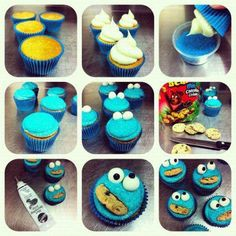 cookie monster cupcakes, these may be easier for the kids to make because there is only one set of options rather than get crazy with cookies and random sprinkles. Love Cupcakes, Fondant Cupcakes, Cake Icing, Baking Cupcakes, Cupcakes Kids, Party Cupcakes, Eat Cake, Frosting, Cookie Monster Cupcakes