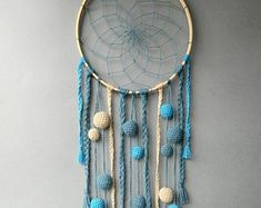 Blue dream catcher Nursery dreamcatcher Boys room decor wall hanging Kids room decoration rustic Baby shower gift for baby boy Dream Catcher For Kids, Blue Dream Catcher, Dream Catcher Nursery, Boys Room Decor, Kids Room, Baby Christmas Gifts, Mint, Baby Girl Gifts, Bohemian Decor