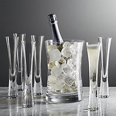 Moya Champagne Set - Crate and Barrel Champagne Ice Bucket, Champagne Buckets, Stemless Champagne Flutes, Toasting Flutes, Champagne Gifts, Crate And Barrel, Kitchen Items, Kitchen Dining, Kitchenware