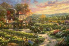 Wine Country Living Thomas Kinkade art for sale at Toperfect gallery. Buy the Wine Country Living Thomas Kinkade oil painting in Factory Price. Art Thomas, Painting, Cottage Art, Art, Pictures, Beautiful Landscapes, Thomas Kinkade Art, Posters Art Prints, Beautiful Art