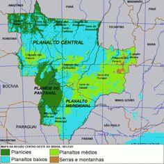 REGIÃO CO: PLANALTO CENTRAL, PLANALTO MERIDIONAL, PLANÍCIE DO PANTANAL. Destacam-se: Planalto/Chapada dos Parecis; Planaltos/Chapadas da Bacia do Paraná; Planaltos/Serras de Goiás e Minas; Planaltos/Serras Residuais do Alto Paraguai; Planaltos Residuais Sul-Amazônicos; Depressão do Araguaia/Tocantins; Depressão Cuiabana; Depressão do Alto Paraguai/Guaporé; Depressão Sul-Amazônica; Depressão do Miranda; Planície do Rio Araguaia; Planície/Pantanal do Rio Guaporé; Planície/Pantanal…