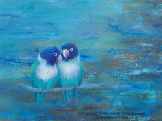 Personalized lovebirds art by Denise Cunniff. Original painting or print for grey, turquoise, teal, aqua, cerulean, cobalt blue & brown decor palettes. ArtFromDenise.com