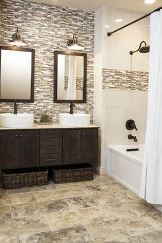 continue accent tile in shower to backsplash for vanity