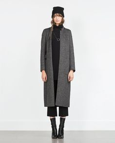 Love the elegant look of this long wool coat! From Zara.