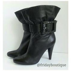 """Jessica Simpson Black Leather Boots - New in Box 4""""heel Jessica Simpson Shoes"""