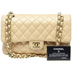 Pre-owned Medium Classic Double Flap ($4,325) ❤ liked on Polyvore featuring bags, handbags, shoulder bags, cream, beige leather handbags, chanel handbags, leather shoulder bag, chanel shoulder bag and shoulder hand bags