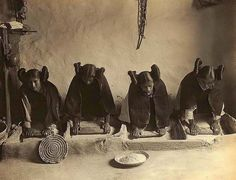 Here we present a dramatic image of a Mealing Trough. It was taken in 1906 by Edward S. Curtis. The image shows Four young Hopi Indian women grinding grain. We have created this collection of images primarily to serve as an easy to access educational tool. Contact curator@old-picture.com. Image ID# 9698391A